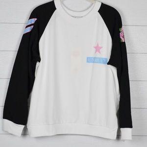 NWT Wildfox Unruly Raglan Rose Sleeve Sweatshirt
